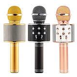 Караоке микрофон для детей Микрофоны блютуз беспроводной с колонкой Черный Black WS-858 Музыкальные игрушки, фото 2