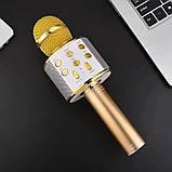 Караоке микрофон для детей Микрофоны блютуз беспроводной с колонкой Черный Black WS-858 Музыкальные игрушки, фото 4