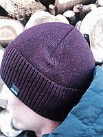 Теплая вязаная  мужская шапка в отворотом с флисовым подкладом бордо, фото 1