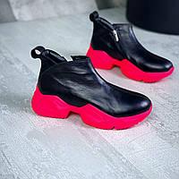 Демисезонные кожаные ботинки 36-40 р чёрный+фуксия, фото 1