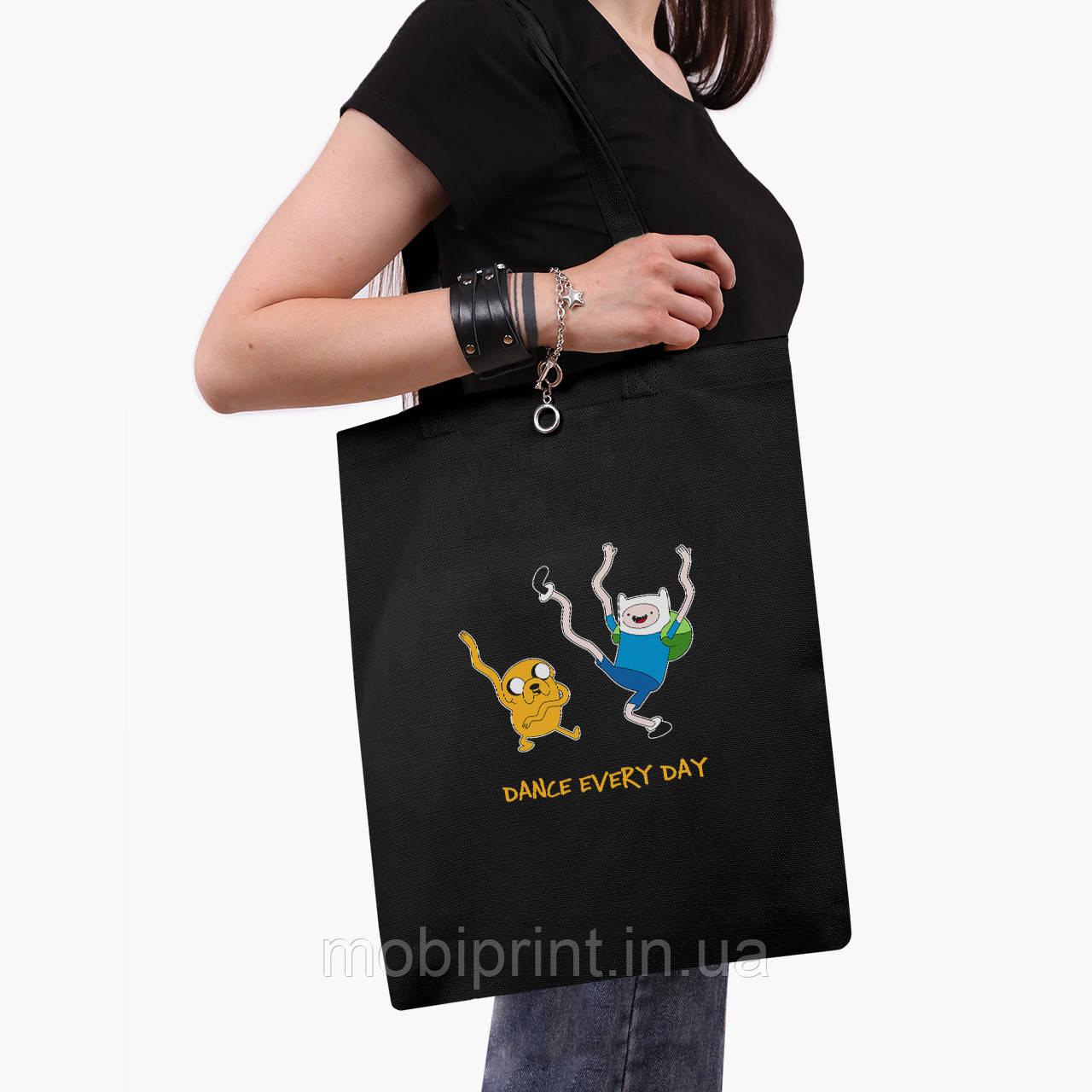 Эко сумка шоппер черная Финн и Джейк пес (Adventure Time) (9227-1580-2)  экосумка шопер 41*35 см