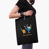 Эко сумка шоппер черная Финн и Джейк пес (Adventure Time) (9227-1580-2)  экосумка шопер 41*35 см , фото 1