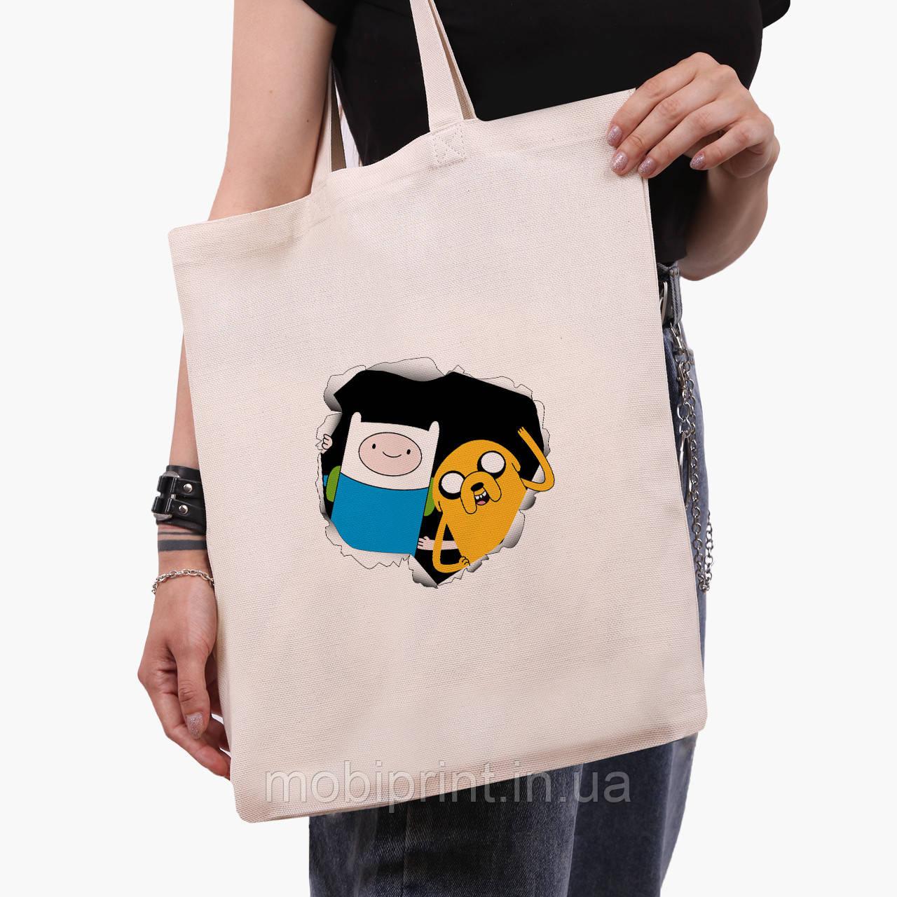 Эко сумка шоппер Финн и Джейк пес (Adventure Time) (9227-1581)  экосумка шопер 41*35 см