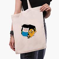 Эко сумка шоппер Финн и Джейк пес (Adventure Time) (9227-1581)  экосумка шопер 41*35 см , фото 1
