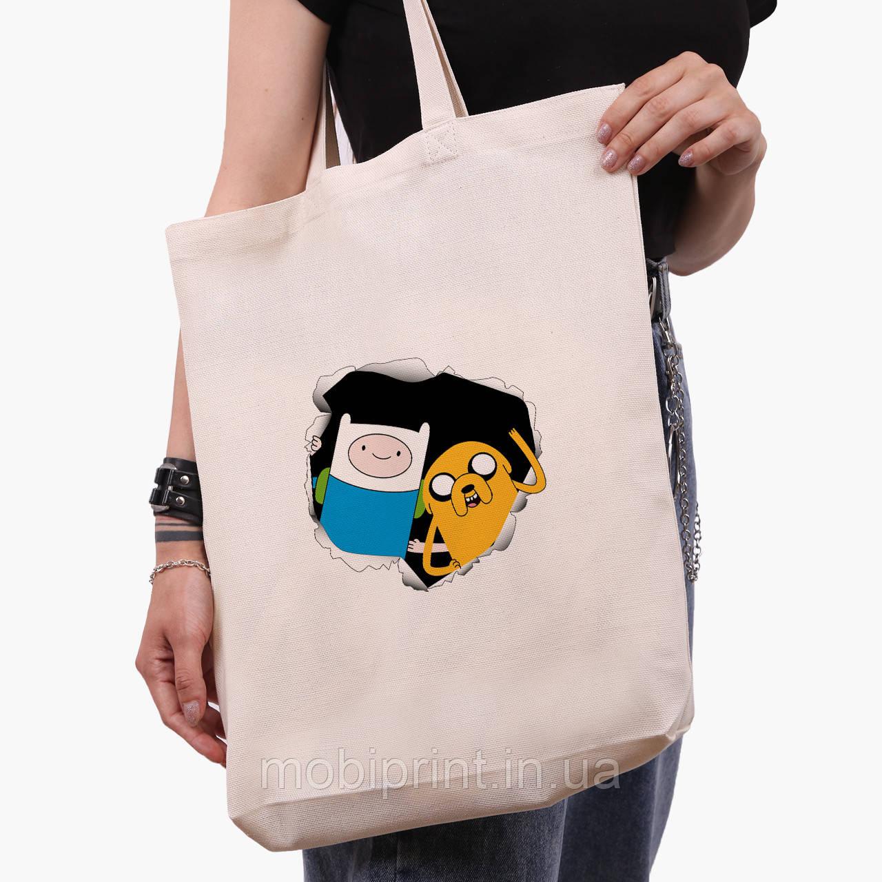 Эко сумка шоппер белая Финн и Джейк пес (Adventure Time) (9227-1581-1)  экосумка шопер 41*39*8 см