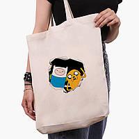 Эко сумка шоппер белая Финн и Джейк пес (Adventure Time) (9227-1581-1)  экосумка шопер 41*39*8 см , фото 1