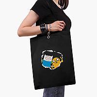 Эко сумка шоппер с принтом Финн и Джейк пес (Adventure Time) (9227-1581) Белый, фото 1