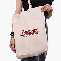 Эко сумка шоппер белая Время приключений (Adventure Time) (9227-1582-1)  экосумка шопер 41*39*8 см , фото 1