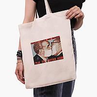 Эко сумка шоппер Брежнев поцелуй (Brezhnev kiss) (9227-1424)  экосумка шопер 41*35 см , фото 1