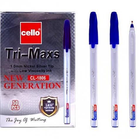 Ручка масляная «Tri-Mate» Cello  синяя 1 упаковка (12 штук), фото 2