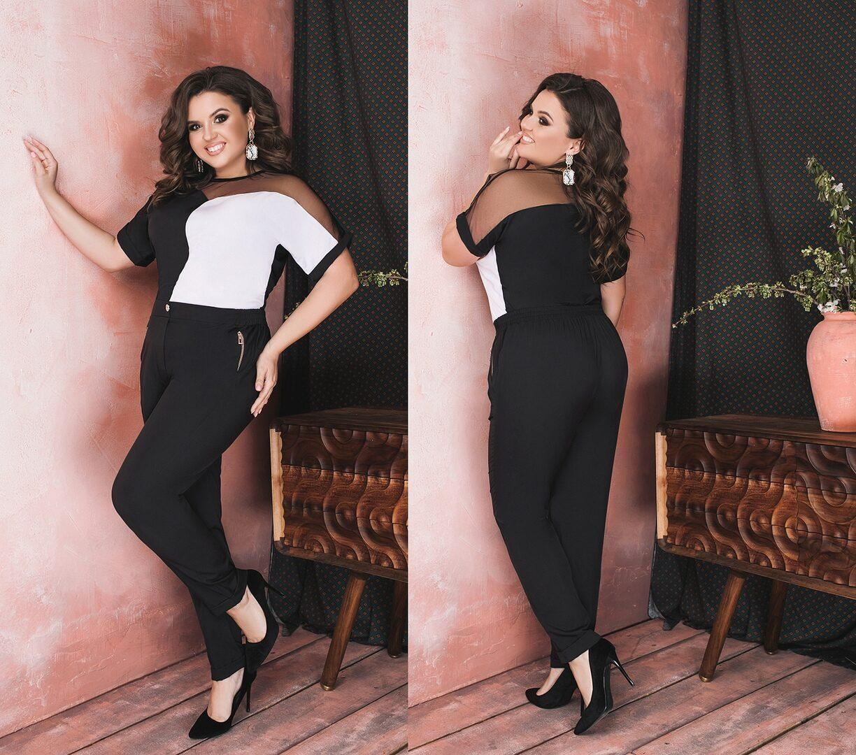 """Роскошный женский костюм-двойка (блуза+брюки) ткань """"Софт"""" 50 размер"""