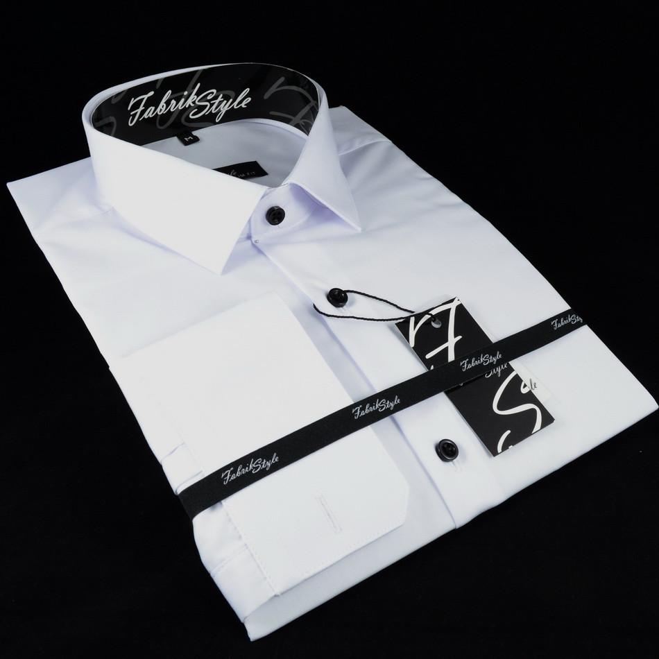 Сорочка чоловіча, приталена (Slim Fit), з довгим рукавом Fabrik Style біла Ч/Г 80% бавовна 20% поліестер XL(Р)