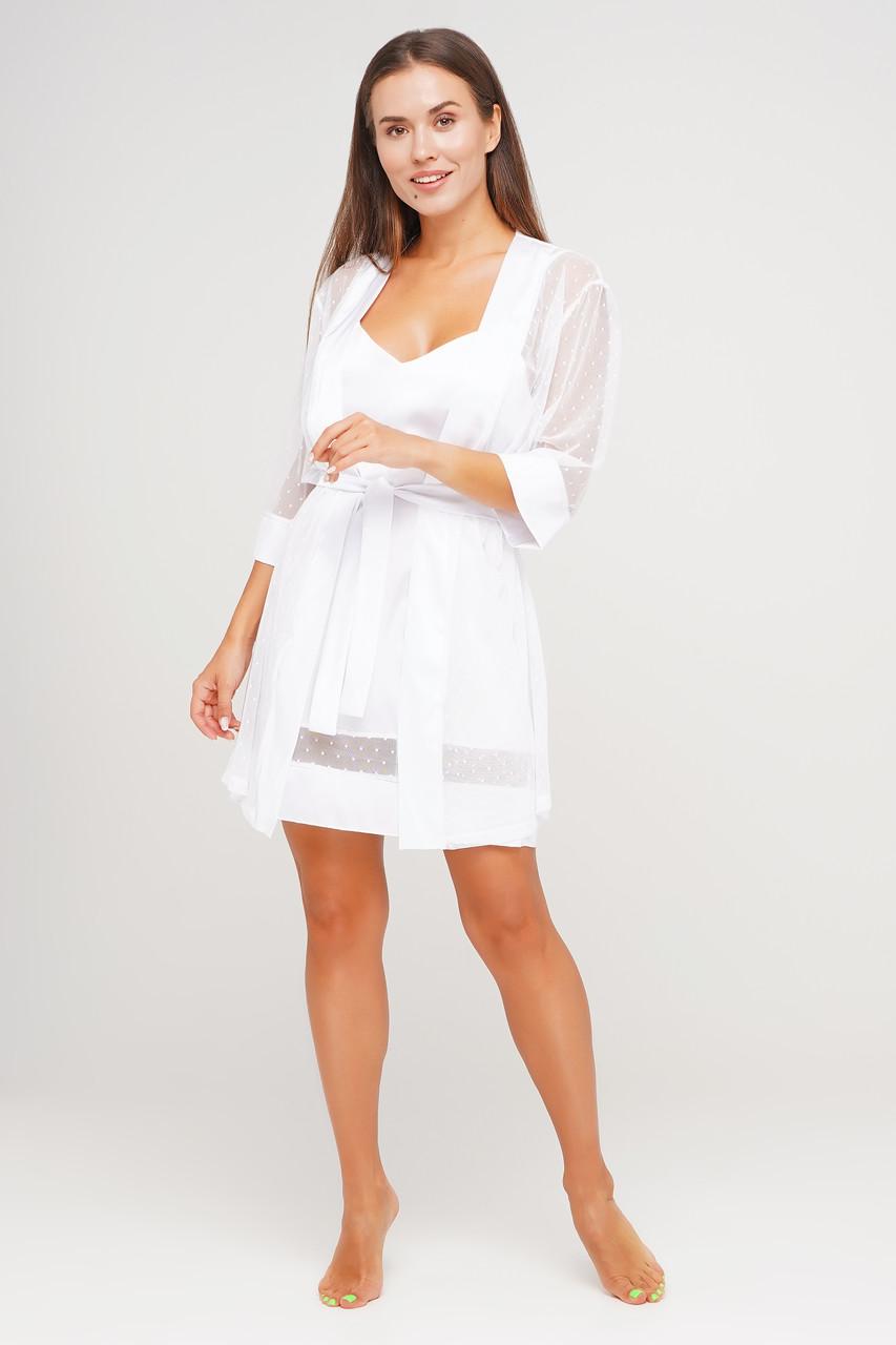 Роскошный белый комплект  халат и пеньюар