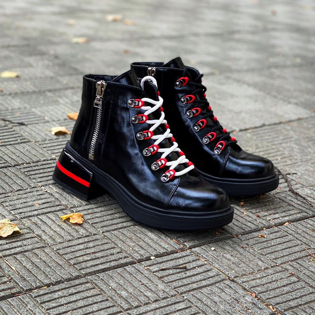 Демісезонні шкіряні лакові черевики на шнурівці 36 р чорний