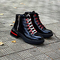 Демісезонні шкіряні лакові черевики на шнурівці 36 р чорний, фото 1