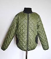 Куртка детская стеганная демисезонная 8-12 лет, оливкового цвета, фото 1