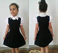 Школьный сарафан без рукавов, черный - р. 122, темно-синий - р. 140, фото 1