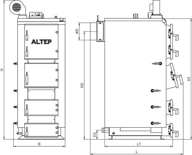 Габаритные размеры котлов Альтеп DUO PLUS 50-120 кВт  (Фото-1)