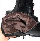 Демисезонные женские ботинки на удобном каблуке черного цвета, фото 7