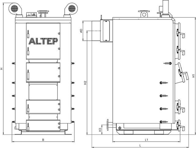 Габаритные размеры котлов Альтеп DUO PLUS 150-250 кВт  (Фото-1)