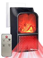 Термовентилятор (обогреватель) камин Flame Heater с пультом Black #S/O, фото 1