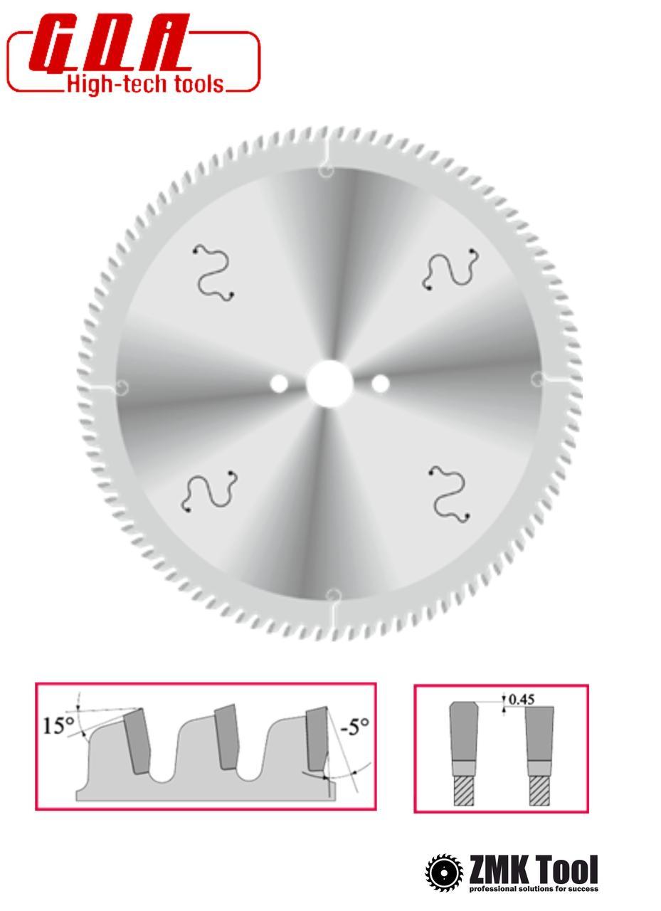 Пила для резки алюминия, пластика, акрила и ламинатов 216x30x3/2 z64 отрицательный угол -5°