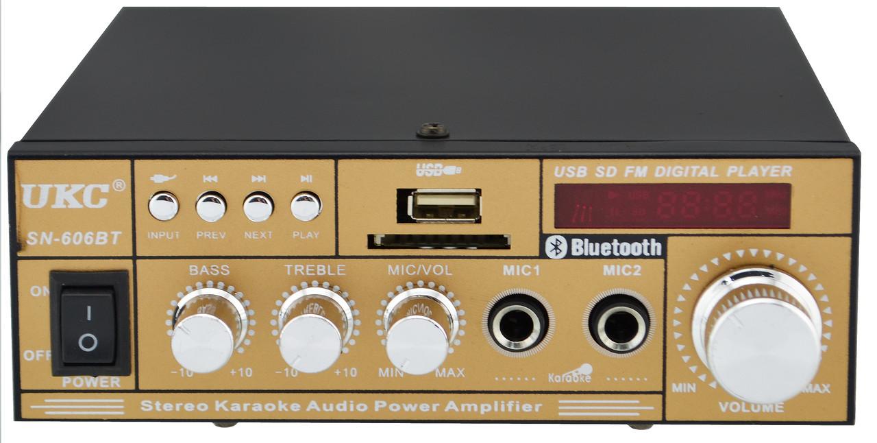 Усилитель звука UKC SN-606BT с радио и Bluetooth Gold (4826) #S/O