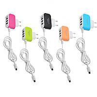 Блок питания на 3 USB 3.1A с кабелем micro USB (случайный цвет) (3310) #S/O, фото 1