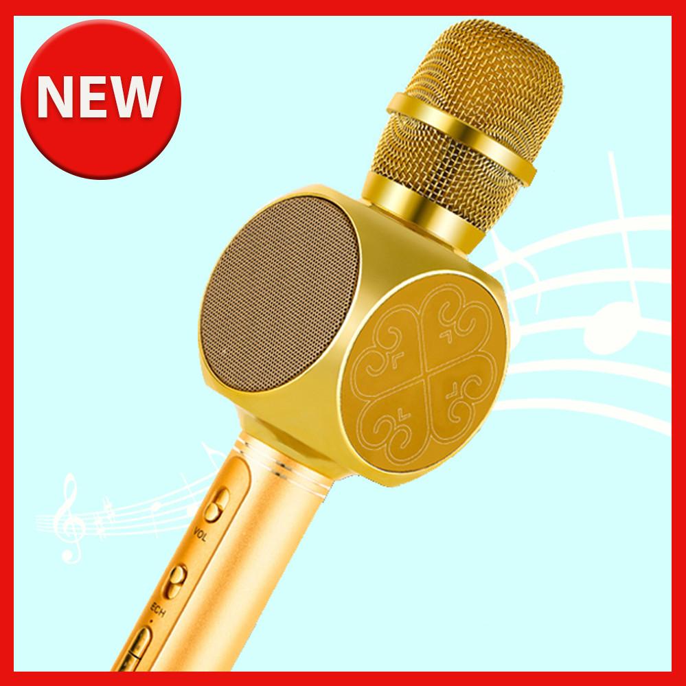 Караоке микрофон детский портативный беспроводной Bluetooth USB Золотой Gold Игрушка микрофоны для детей YS-63
