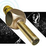 Караоке микрофон детский портативный беспроводной Bluetooth USB Золотой Gold Игрушка микрофоны для детей YS-63, фото 6