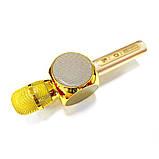 Караоке микрофон детский портативный беспроводной Bluetooth USB Золотой Gold Игрушка микрофоны для детей YS-63, фото 8