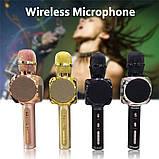 Караоке микрофон детский портативный беспроводной Bluetooth USB Золотой Gold Игрушка микрофоны для детей YS-63, фото 9