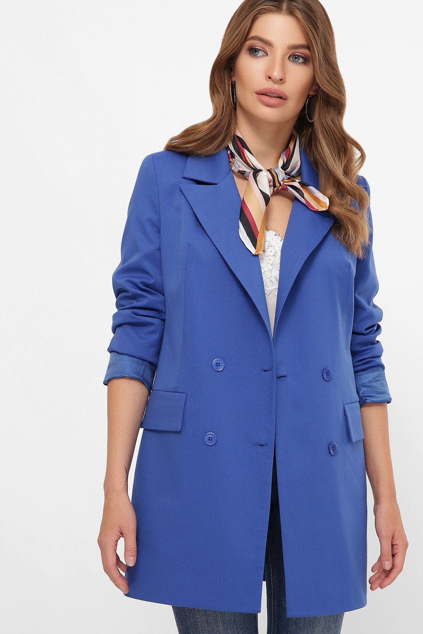 Пиджак ниже бедра двубортный электрик 42-50