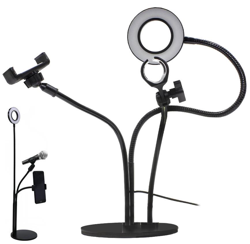 Набор для блогера 3 в 1 (Держатель для телефона, LED подсветка, держатель микрофона) Black (90781) #S/O