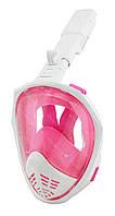 Полнолицевая панорамная маска для плавания SmartTech (S/M) с креплением для камеры Белый/Розовый #S/O, фото 1