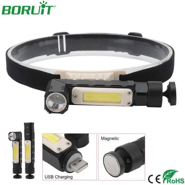Налобный фонарь BORUIT XPG+COB  EBF0003 USB 800mAh Магнит