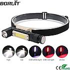 Налобный фонарь BORUIT XPG+COB  EBF0003 USB 800mAh Магнит, фото 2