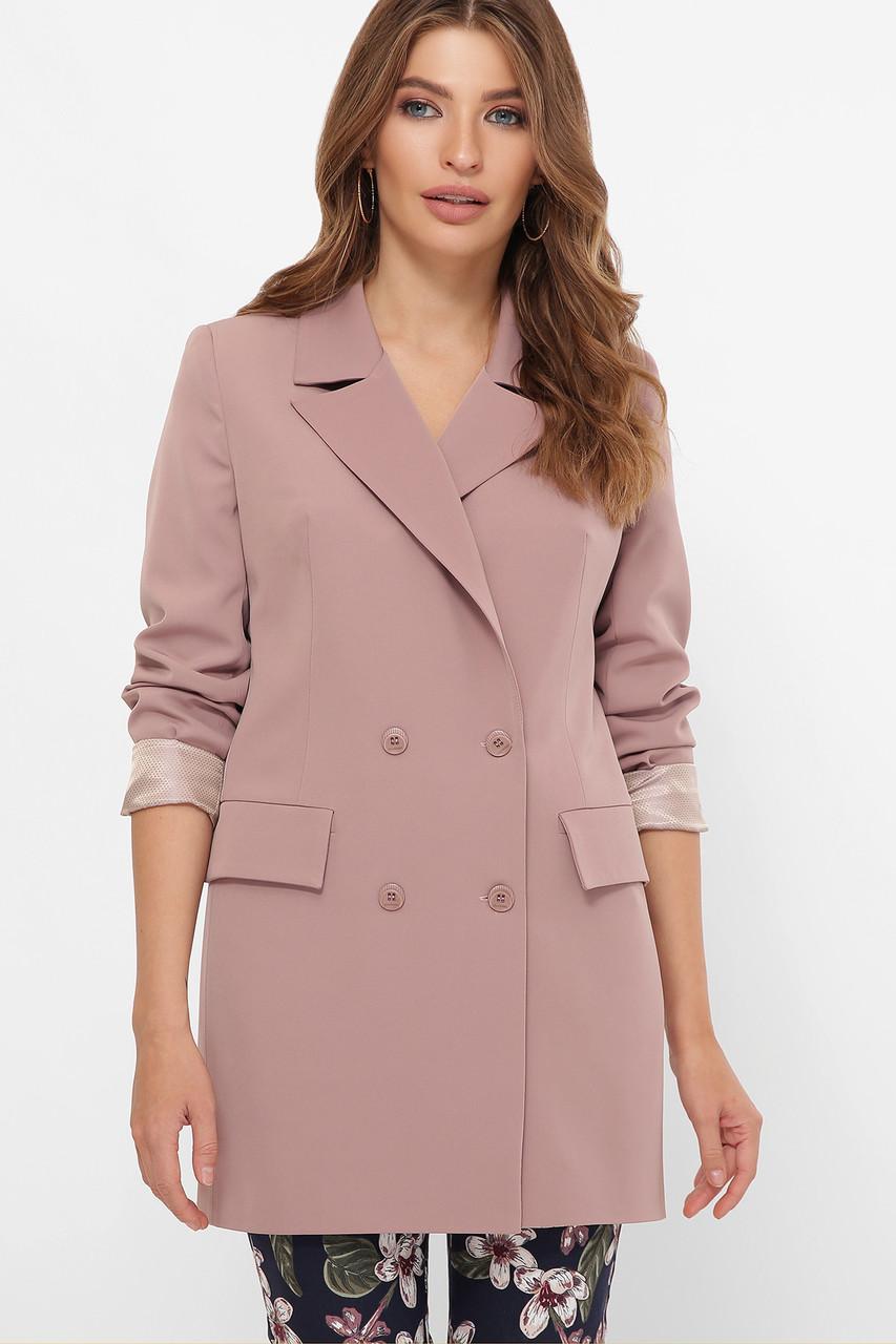 Женский пиджак ниже бедра двубортный электрик 42-50