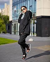 Штани джогеры - прямого крою, вільні, трохи завужені до низу, з бічними кишенями чорний