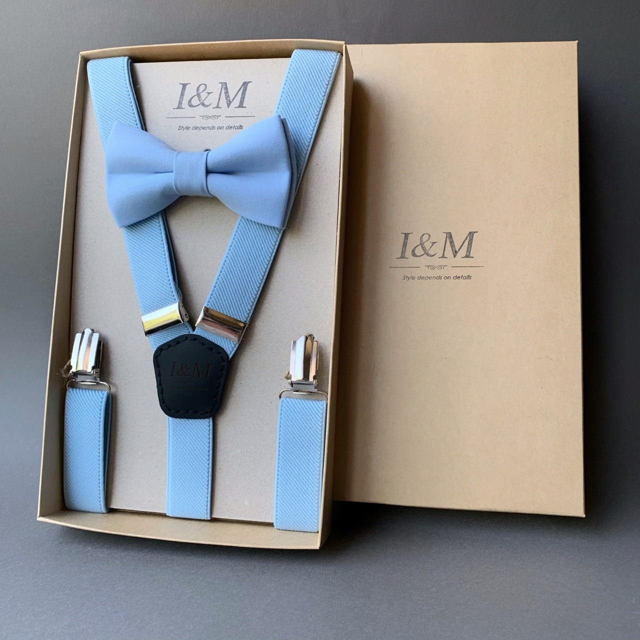 Набор I&M Craft галстук-бабочка и подтяжки для брюк из резинки нежно-голубой (0302100)