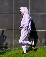 Штани джогеры - прямого крою, вільні, трохи завужені до низу, з бічними кишенями лаванда