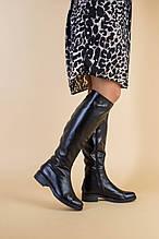 Женские черные кожаные зимние сапоги