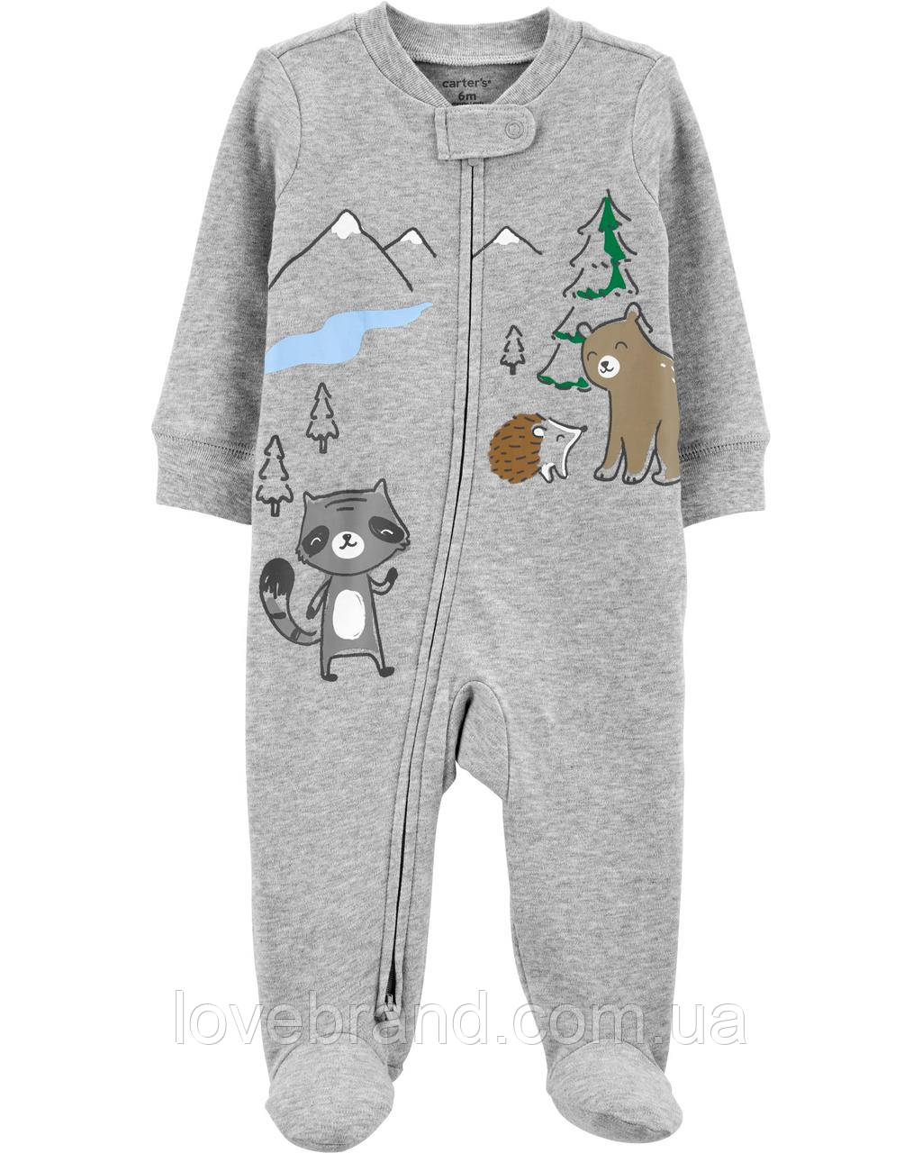 """Хлопковый человечек Carter's для мальчика """"Лесные жители"""" для новорожденных 3 мес/55-61 см"""