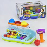 Игрушка для малышей ксилофон логика, с молоточком