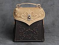 Кожаный бежево-коричневый рюкзак ручной работы, сумочка-рюкзак с авторским тиснением, стиль бохо, фото 1