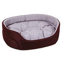Лежак для собак и котов 43х34х13 см / Омега №1, вишня/серый, ТМ Природа