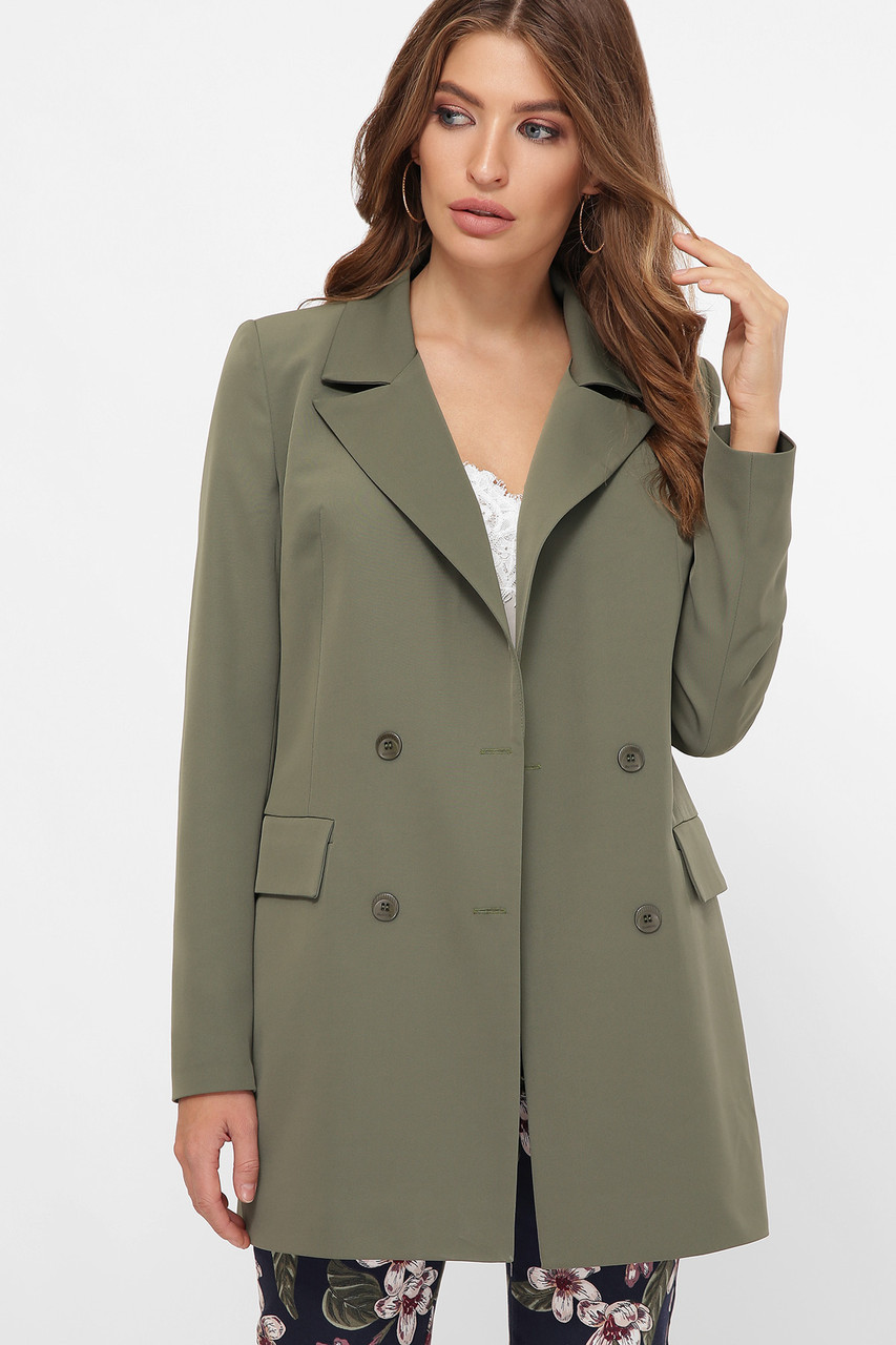 Піджак кольору хакі нижче стегна двобортний 42-50