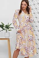 Осенние модное платье-миди с цветочным рисунком ниже колена