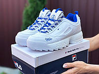 Женские кроссовки Fila Disruptor 2 белые с синим, фото 1