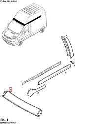 Молдинг над лобовым стеклом (верхний, высокая крыша)  на Opel Vivaro 2001-> — Opel (оригинал) - 4412059